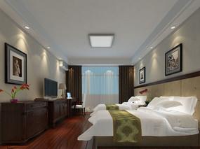 酒店标准间3d模型素材