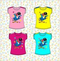 卡通女童T恤矢量手稿 童装手稿 童装设计