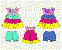 可爱彩虹蛋糕裙 童装款式矢量手稿  欧美童装手稿