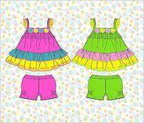 可爱彩虹裙童装款式矢量手稿