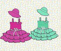 可爱小洋裙吊带裙款式矢量手稿