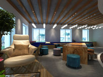 现代办公楼休闲洽谈区3d模型下载