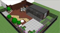 现代简约庭院景观设计skp模型