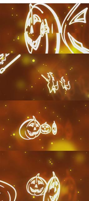万圣节南瓜剪影背景视频素材