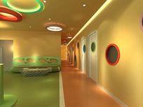 幼儿园过道走廊3d模型下载
