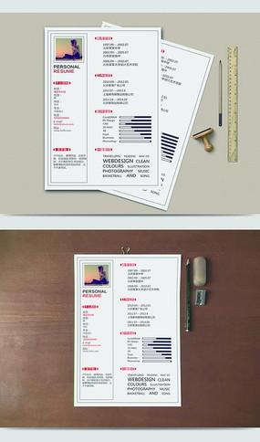 灰色单页简洁简历设计