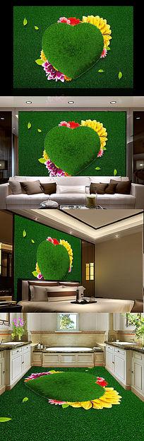 绿色草地爱心现代电视背景墙