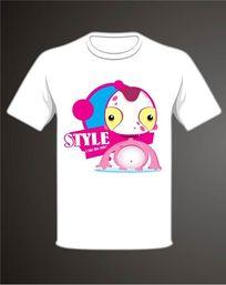 通粉色怪兽文化衫T恤印花图案