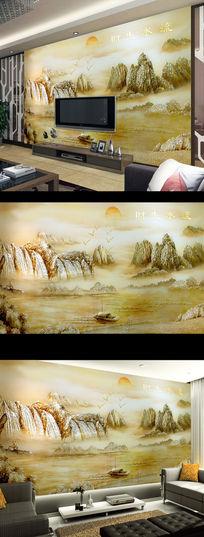 立体彩雕流水生财山水电视背景墙