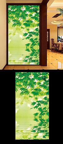 绿色枫叶玄关背景图