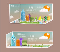 城市天气预报手机ui设计psd