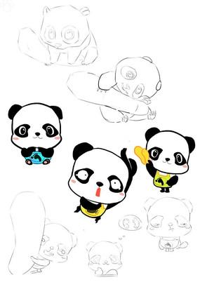 原创可爱卡通熊猫插画
