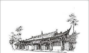 线描古建筑