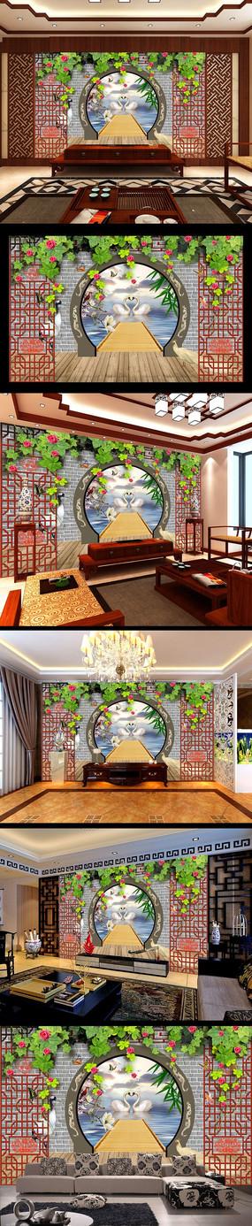 中国风3d门窗蔷薇电视背景墙