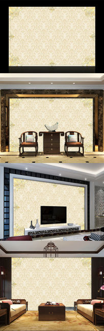 欧式贵族花纹电视背景墙