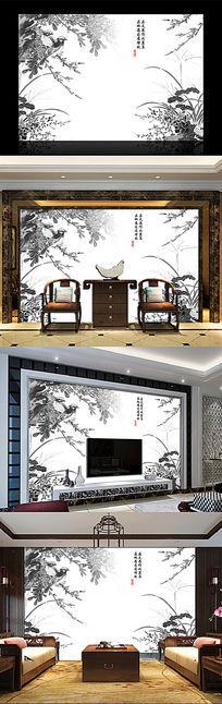 水墨花鸟中式电视背景墙