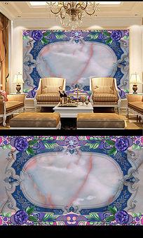 欧式大理石材花沙发背景墙