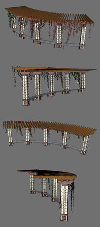 公园廊架亭子模型SU设计
