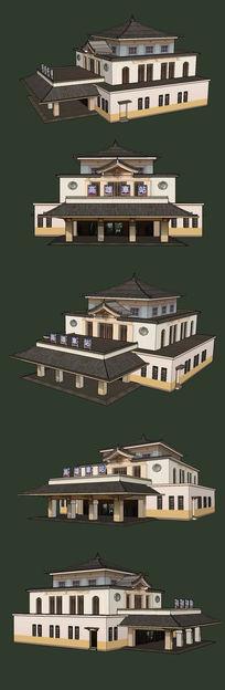 火车站地铁站边建筑SU设计