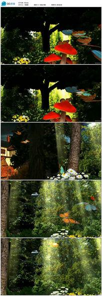 森林阳光鲜花蝴蝶浪漫led视频素材