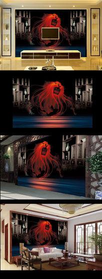 恐怖红色狮头电视背景墙