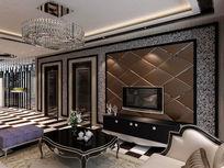 后现代风格客厅3d模型