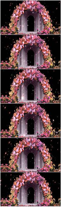 婚礼鲜花拱门光芒视频素材