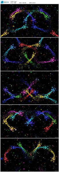 绚丽彩色蝴蝶飞舞粒子光线LED背景视频素材