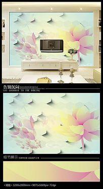 温馨唯美花朵3D沙发背景墙
