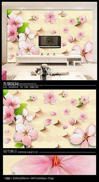 浪漫桃花3D沙发背景墙