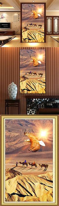 沙漠行者风景玄关背景墙