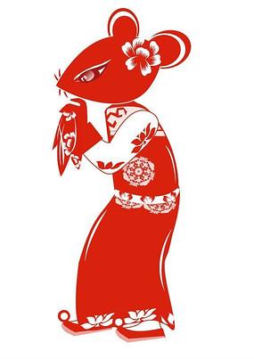 扁平化设计中国红剪纸老鼠新嫁娘人物设定