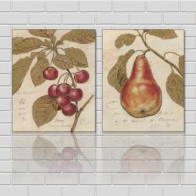 美式樱桃水果餐厅无框画