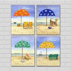 手绘海滩风景四联无框画