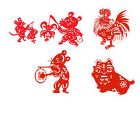 中国风传统剪纸卡通动物人物设定素材