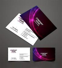 紫色曲线健身会所名片设计