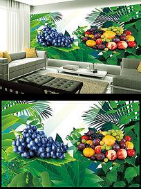 水果葡萄电视背景墙