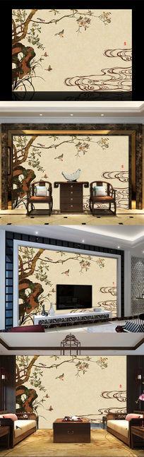 花鸟云纹彩雕电视背景墙
