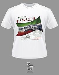 国旗威尼斯主题文化衫