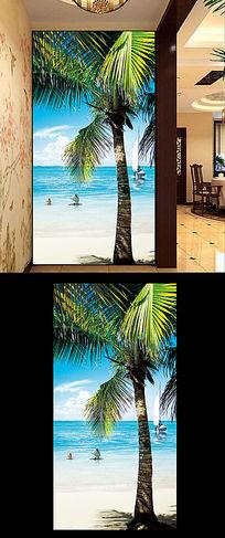 马尔代夫海边风景玄关装饰图