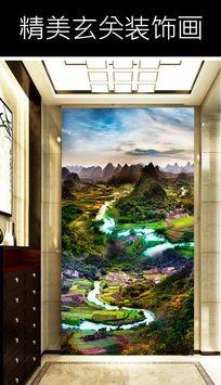山水风景玄关背景装饰画