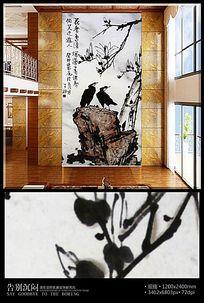 花香鸟语水墨玄关背景墙