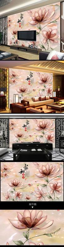 家和富贵手绘透明花九鱼图玉石背景墙