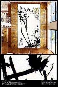 家和万事兴水墨兰花玄关背景墙
