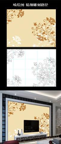 欧式荷花彩雕背景墙路径生产图