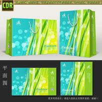 蓝绿线条手提袋矢量设计模板