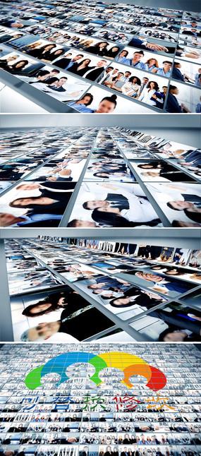 三维多照片汇聚成LOGO标志片头AE模板