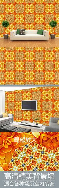 金色花纹连续图案电视背景墙