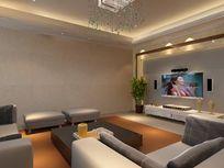 客厅电视背景墙装修模型
