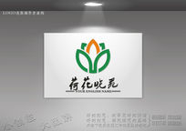 莲花叶子底纹logo 圣洁荷莲花商标设计